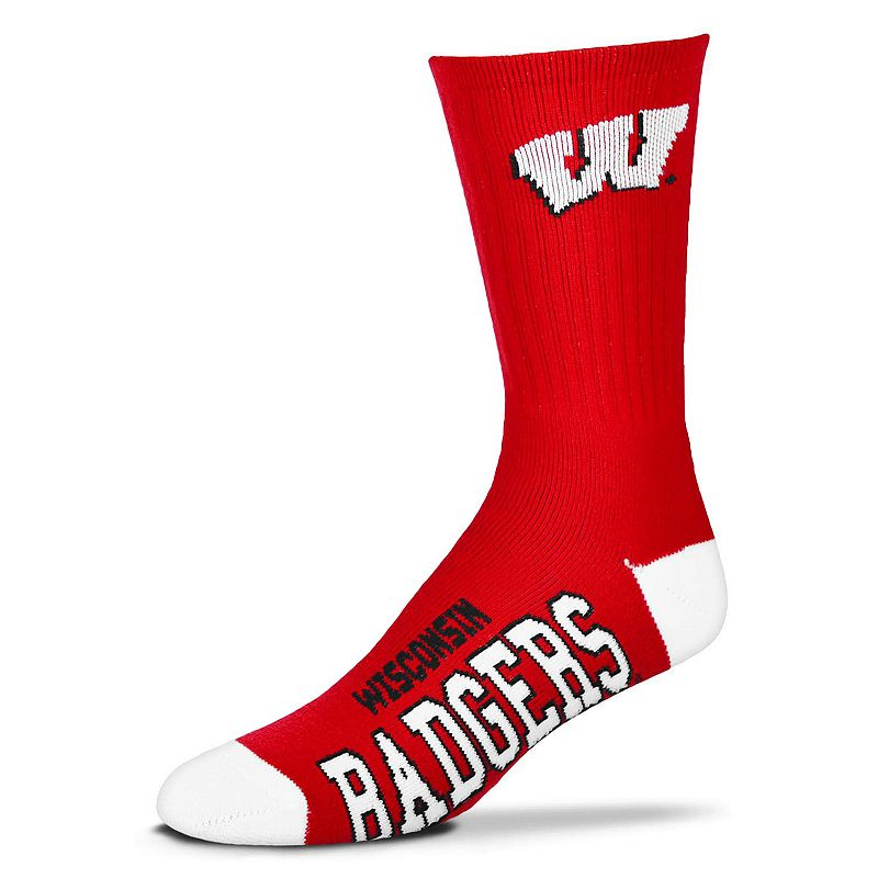 Men's For Bare Feet Wisconsin Badgers Team Color Crew Socks