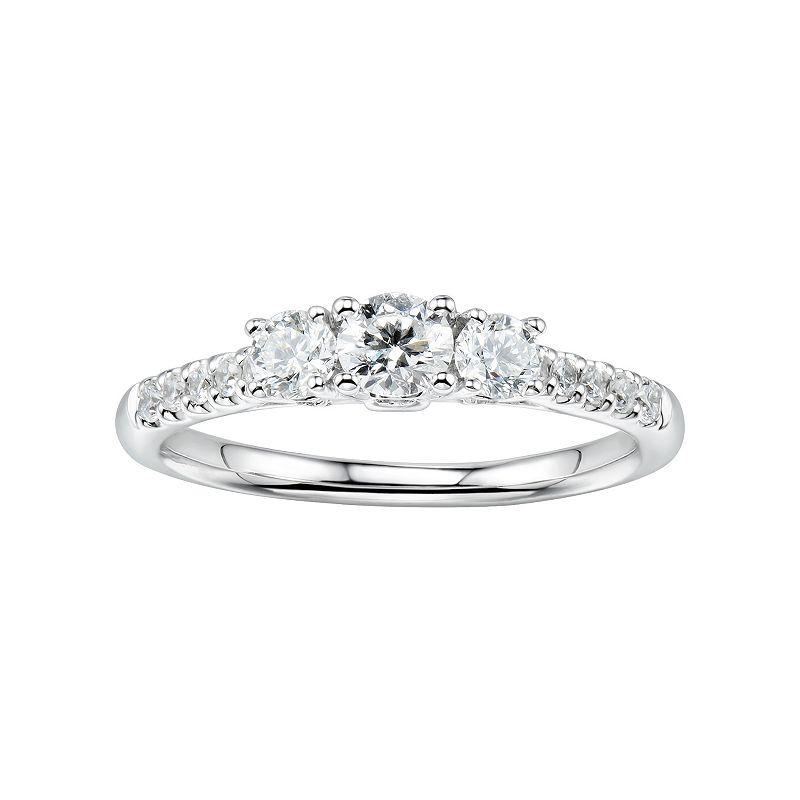 14k White Gold 3/4 Carat T.W. Diamond 3-Stone Anniversary Ring