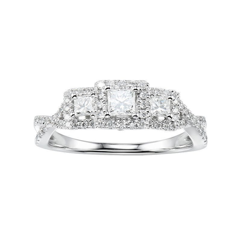 14k White Gold 3/4 Carat T.W. Diamond 3-Stone Square Halo Anniversary Ring