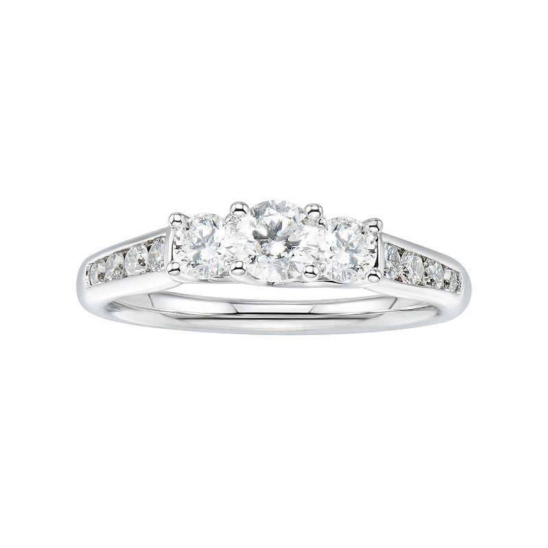 14k White Gold 1 Carat T.W. Diamond 3-Stone Anniversary Ring