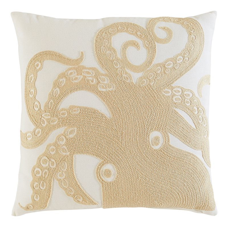 M. Kennedy Home Coastal Octopus Embroidered Throw Pillow