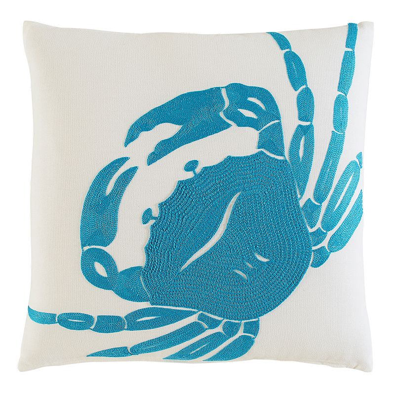 M. Kennedy Home Coastal Crab Embroidered Throw Pillow