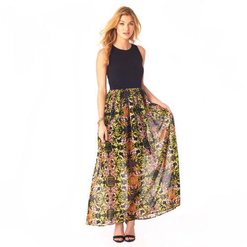 Women's Indication Mixed-Media Print Maxi Dress