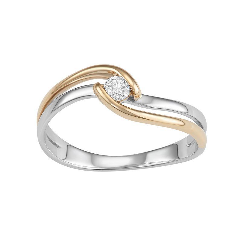 Two Tone 10k Gold 1/10 Carat TW. Diamond Twist Promise Ring