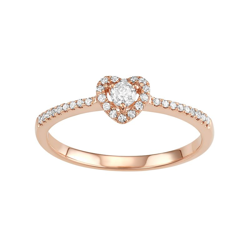 10k Rose Gold 1/4 Carat T.W. Diamond Heart Engagement Ring