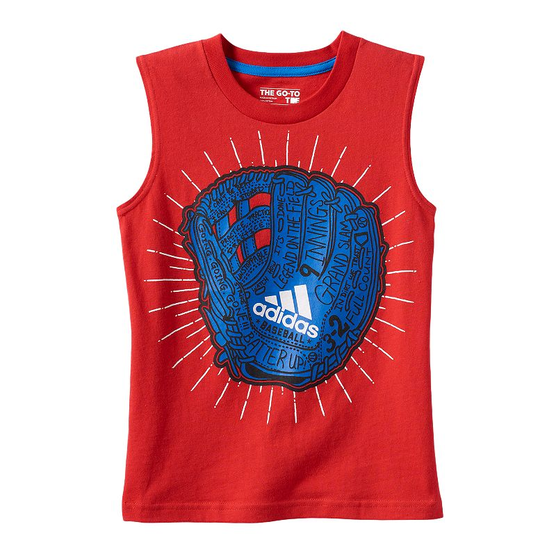 Boys 4-7x adidas Red Baseball Glove Muscle Tank