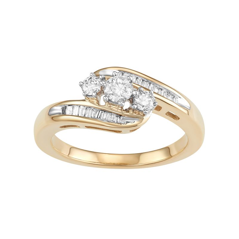 10k Gold 1/2 Carat T.W. Diamond 3-Stone Bypass Ring