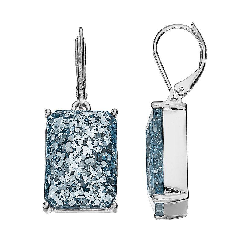 Dana Buchman Glitter Rectangle Drop Earrings