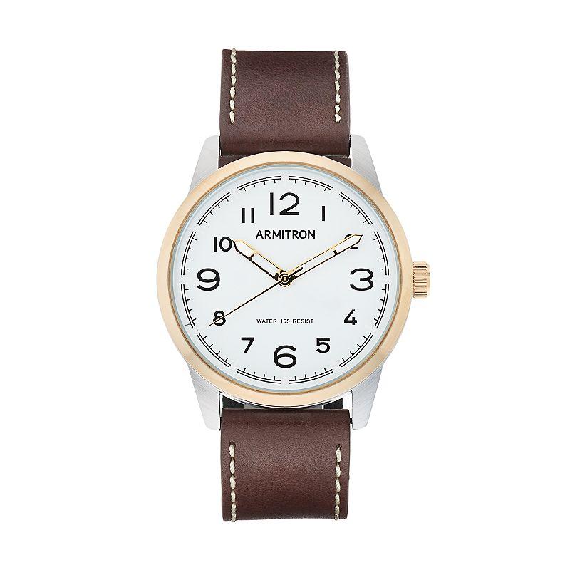 Armitron Men's Two Tone Leather Watch - 20/5126SVTTBN