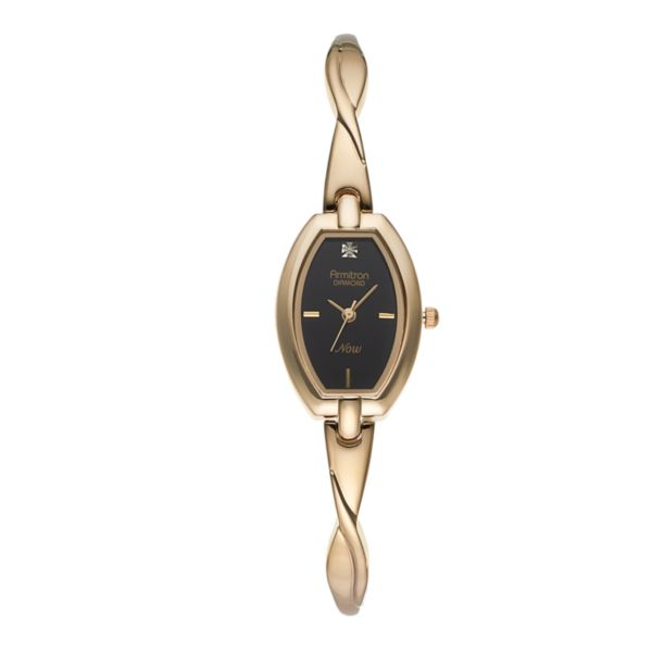 Armitron Women's Diamond Half-Bangle Watch - 75/5204BKGP