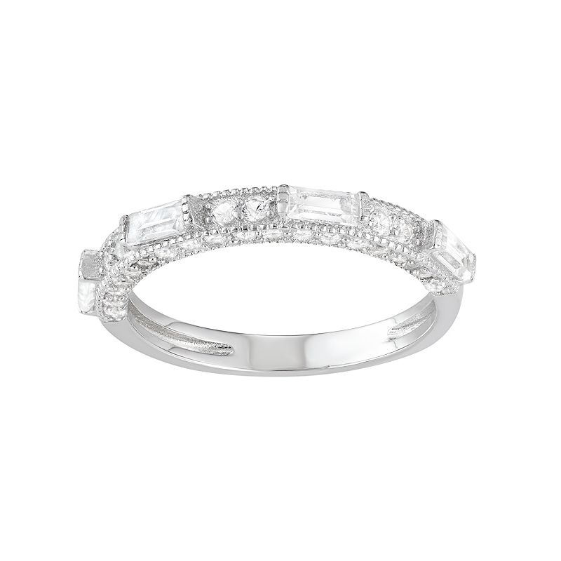 Sterling Silver Lab-Created White Sapphire Anniversary Ring