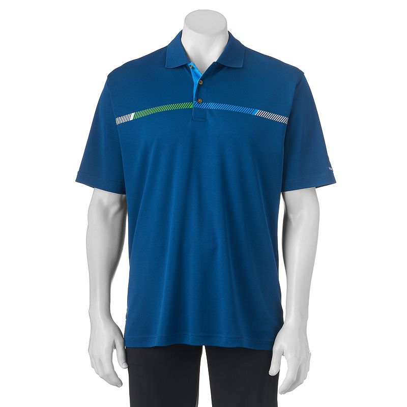 Men's Pebble Beach Classic-Fit Micropique Chest-Striped Performance Golf Polo