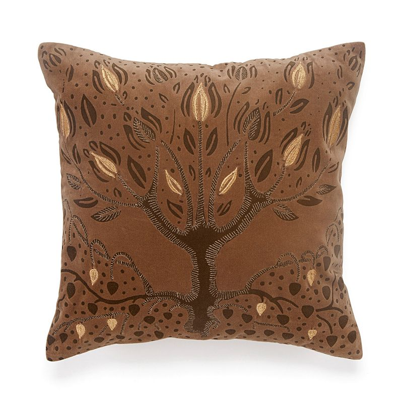 BiniChic Embroidered Tree of Life Throw Pillow