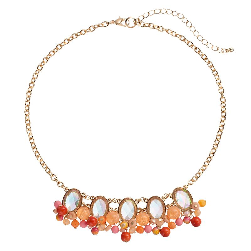 Pink Oval Beaded Cluster Necklace