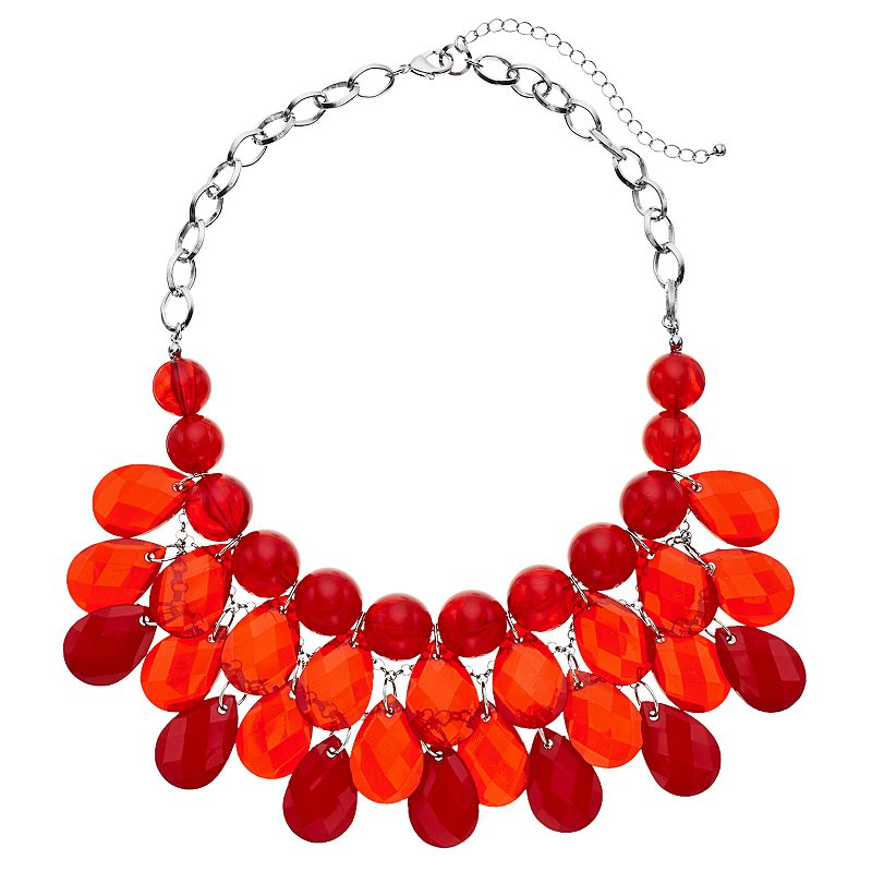 Red Beaded Teardrop Statement Necklace