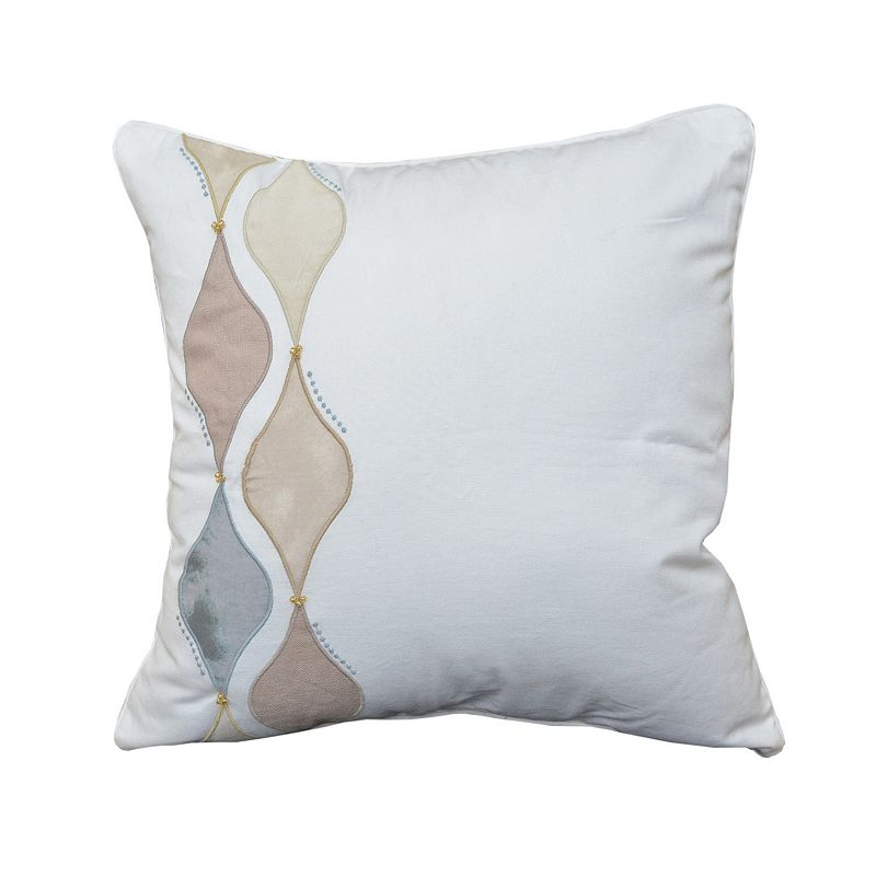 Shell Rummel Square Multi-Colored Beadwork Throw Pillow