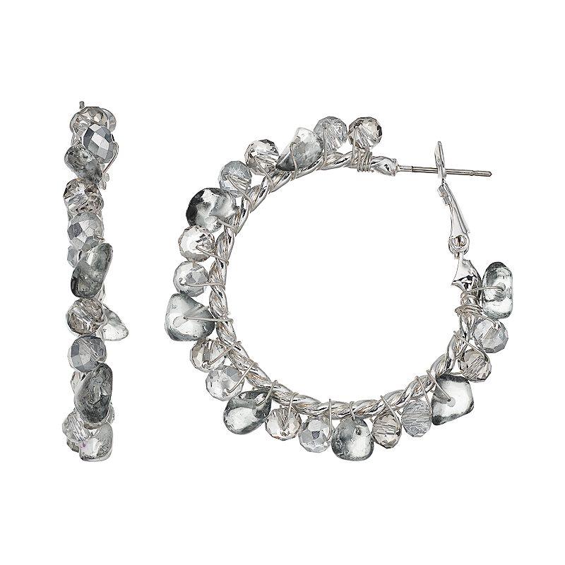 Simply Vera Vera Wang Gray Beaded Hoop Earrings