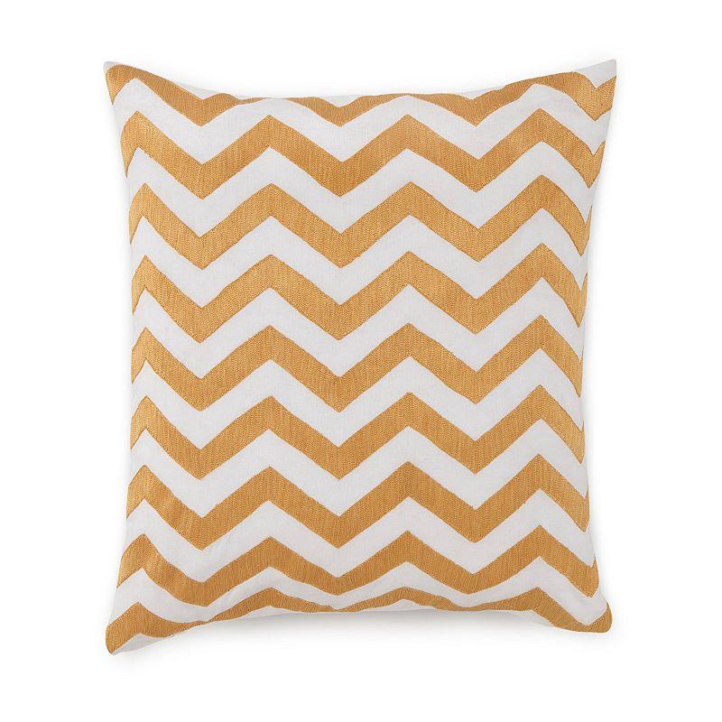 Jill Rosenwald Plimpton Flame Chevron Embroidered Throw Pillow
