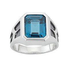 Men's Two Tone Sterling Silver Lab-Created Blue Topaz Ring by