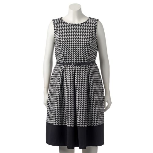 Plus Size Dana Buchman Houndstooth Belted Fit & Flare Dress