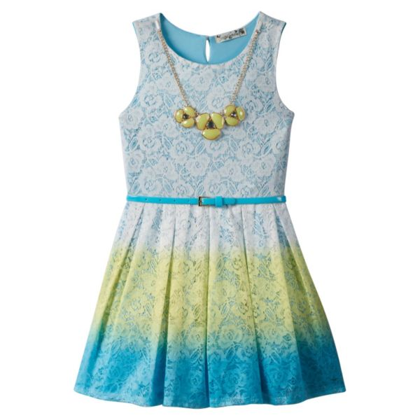Girls 7-16 Knitworks Ombre Lace Skater Dress