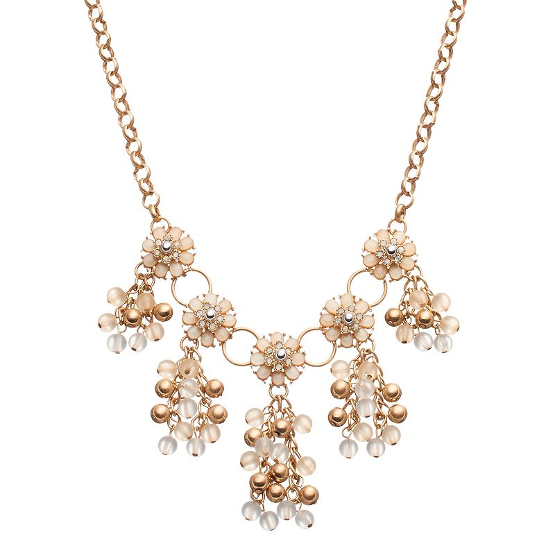 Flower Beaded Cluster Necklace