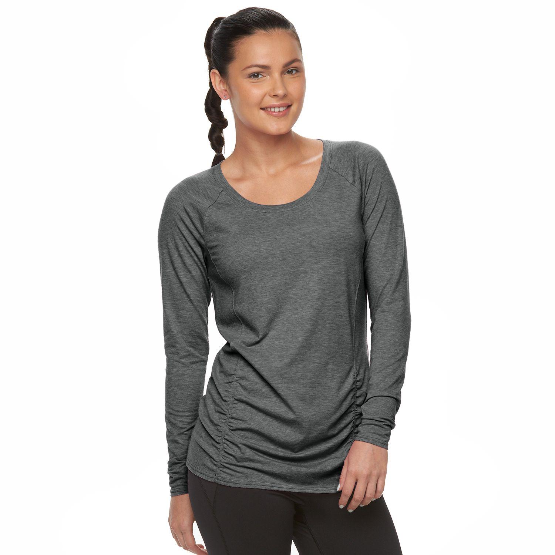 Womens Tek Gear? Shirred Long Sleeve Yoga Tee