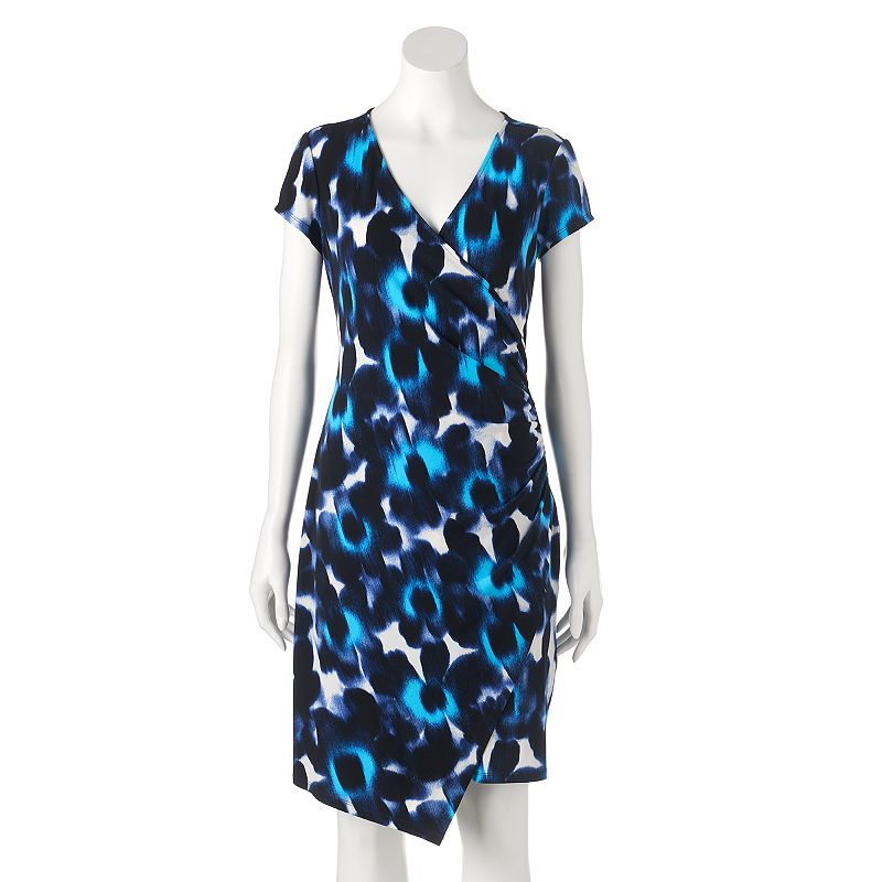 Women's Suite 7 Ruched Faux-Wrap Dress