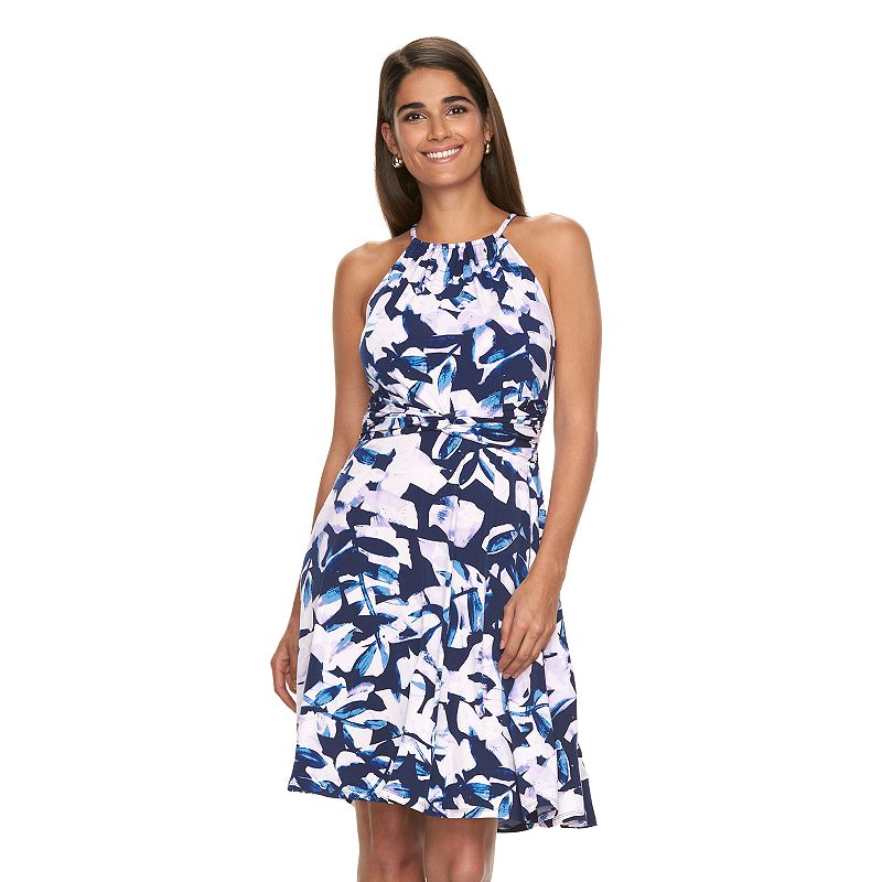 Women's Suite 7 Floral Halter Fit & Flare Dress