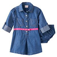 Baby Girl Nannette Chambray 3/4-Length Sleeve Polka-Dot Dress