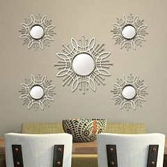 stratton home decor burst wall mirror 5 piece set