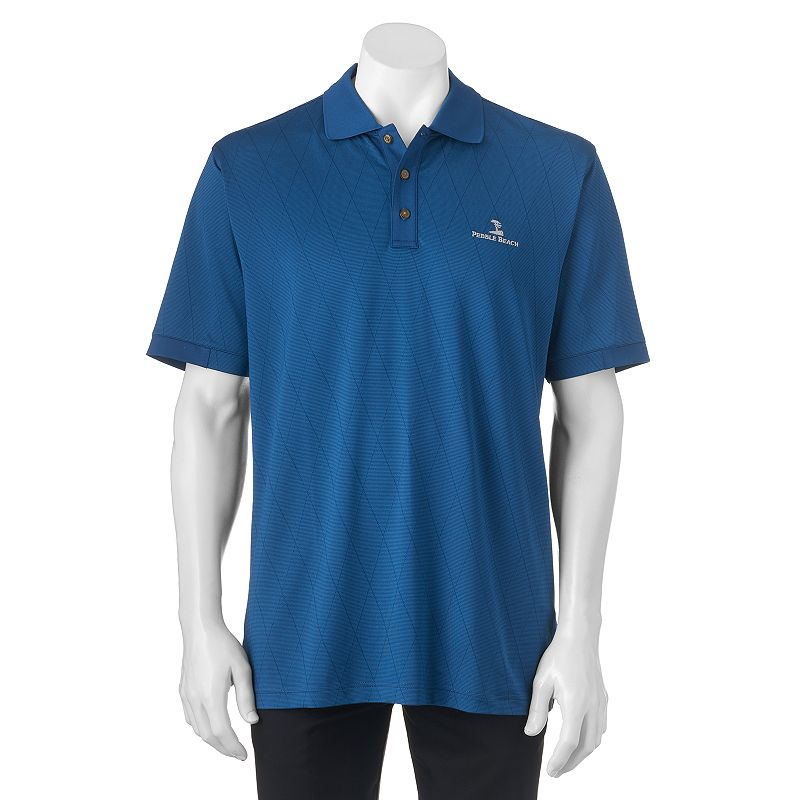 Men's Pebble Beach Classic-Fit Striped Jacquard Performance Golf Polo