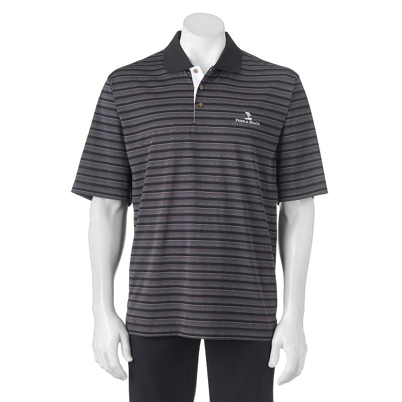 Men's Pebble Beach Classic-Fit Shadow-Striped Performance Golf Polo