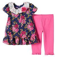 Toddler Girl Nannette Floral Chiffon Tunic & Leggings Set