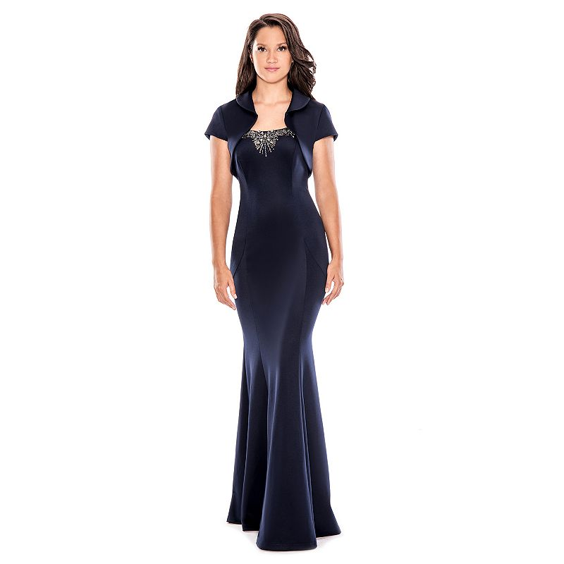 Women's 1 by 8 Embellished Evening Gown & Shrug Set
