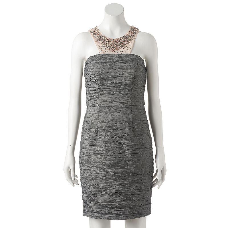 Women's 1 by 8 Embellished Crinkle Sheath Dress