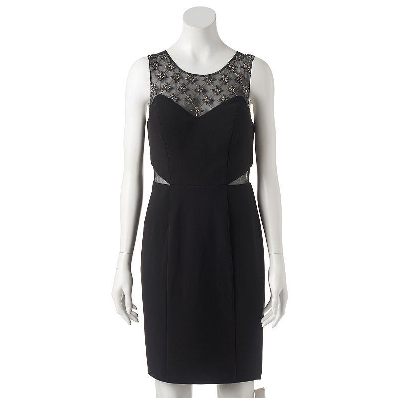 Women's 1 by 8 Embellished Illusion Sheath Dress