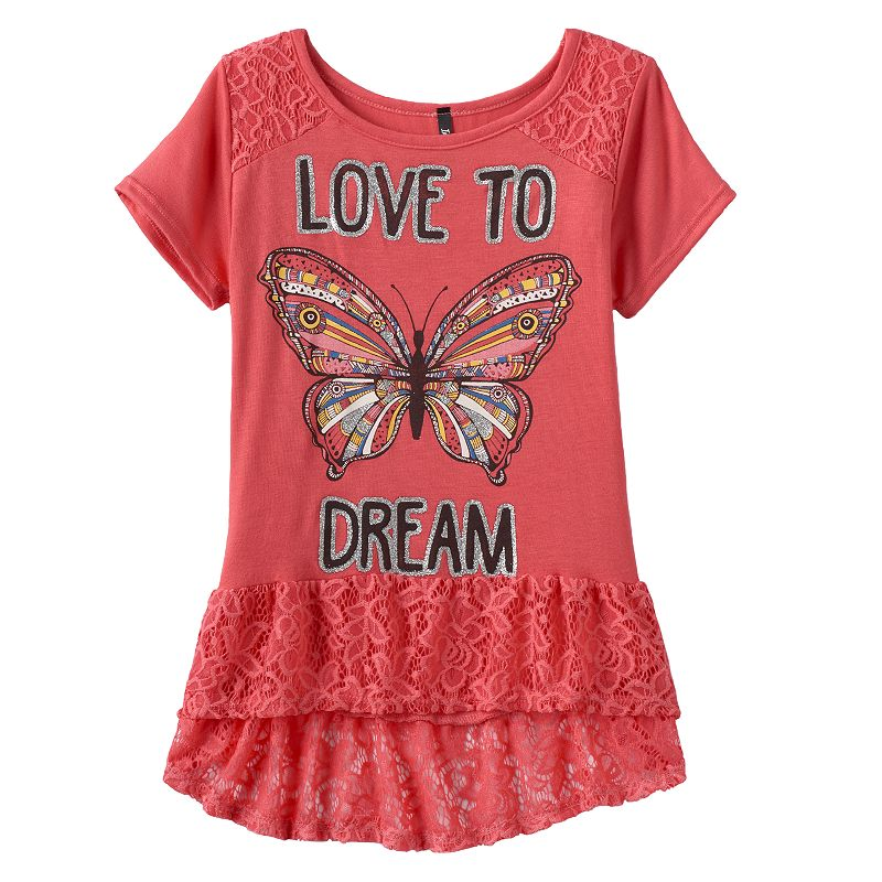 Girls 7-16 & Plus Size Insta Girl Lace Glitter Graphic Tee