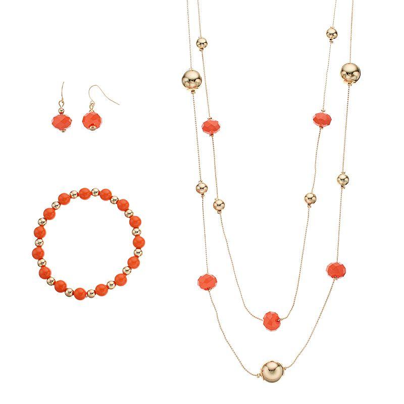 Peach Beaded Double Strand Necklace, Stretch Bracelet & Drop Earring Set