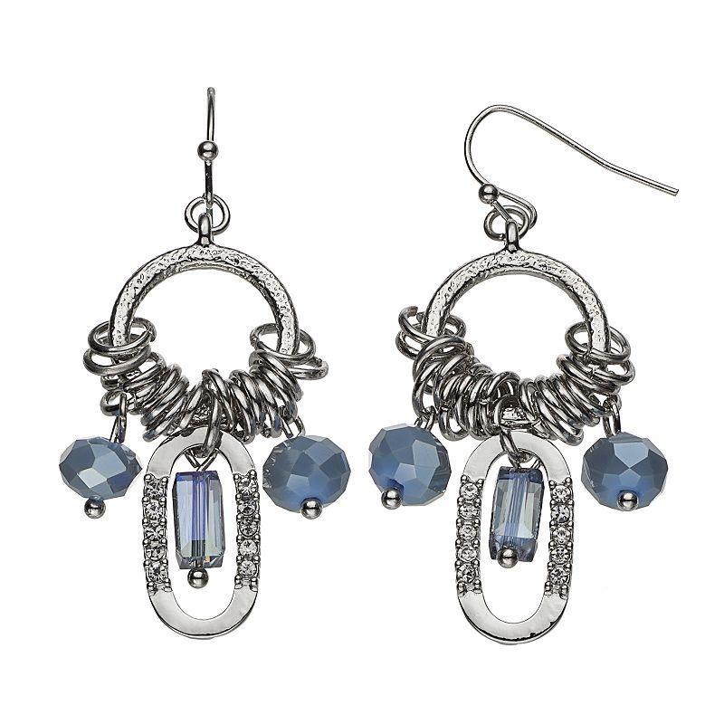 Simply Vera Vera Wang Blue Beaded Drop Hoop Earrings