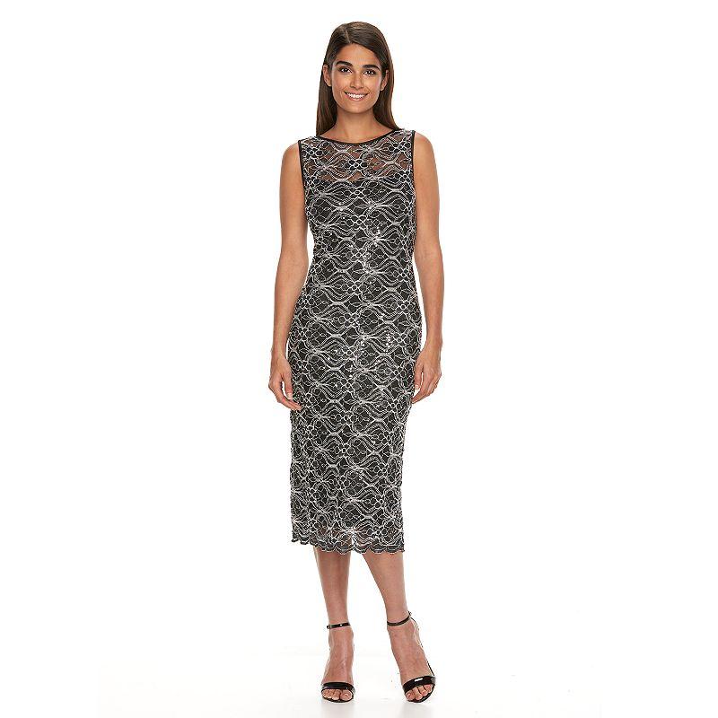 Women's Ronni Nicole Contrast Lace Midi Sheath Dress