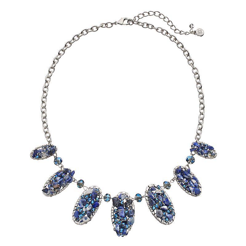Simply Vera Vera Wang Blue Beaded Graduated Oval Necklace