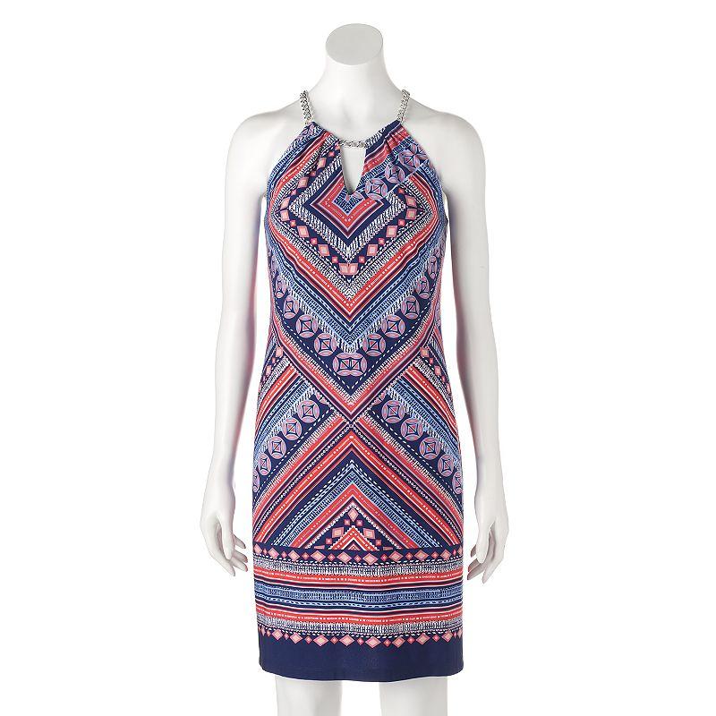 Women's MSK Geometric Halter Dress