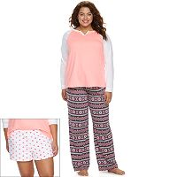 Juniors' Plus Size SO® Pajamas: 3-Piece Pajama Set