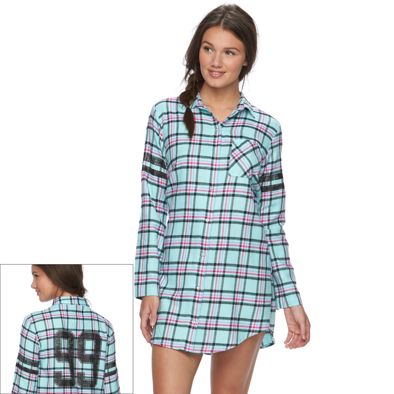 Juniors SO? Pajamas: Flannel Sleep Shirt