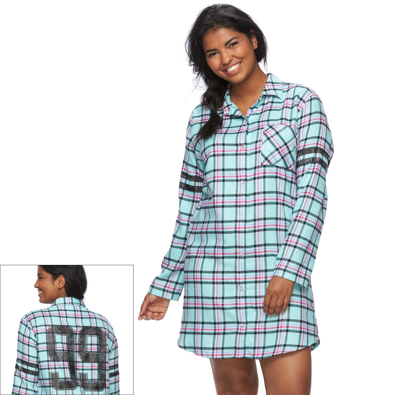 Juniors Plus Size SO? Pajamas: Flannel Sleep Shirt