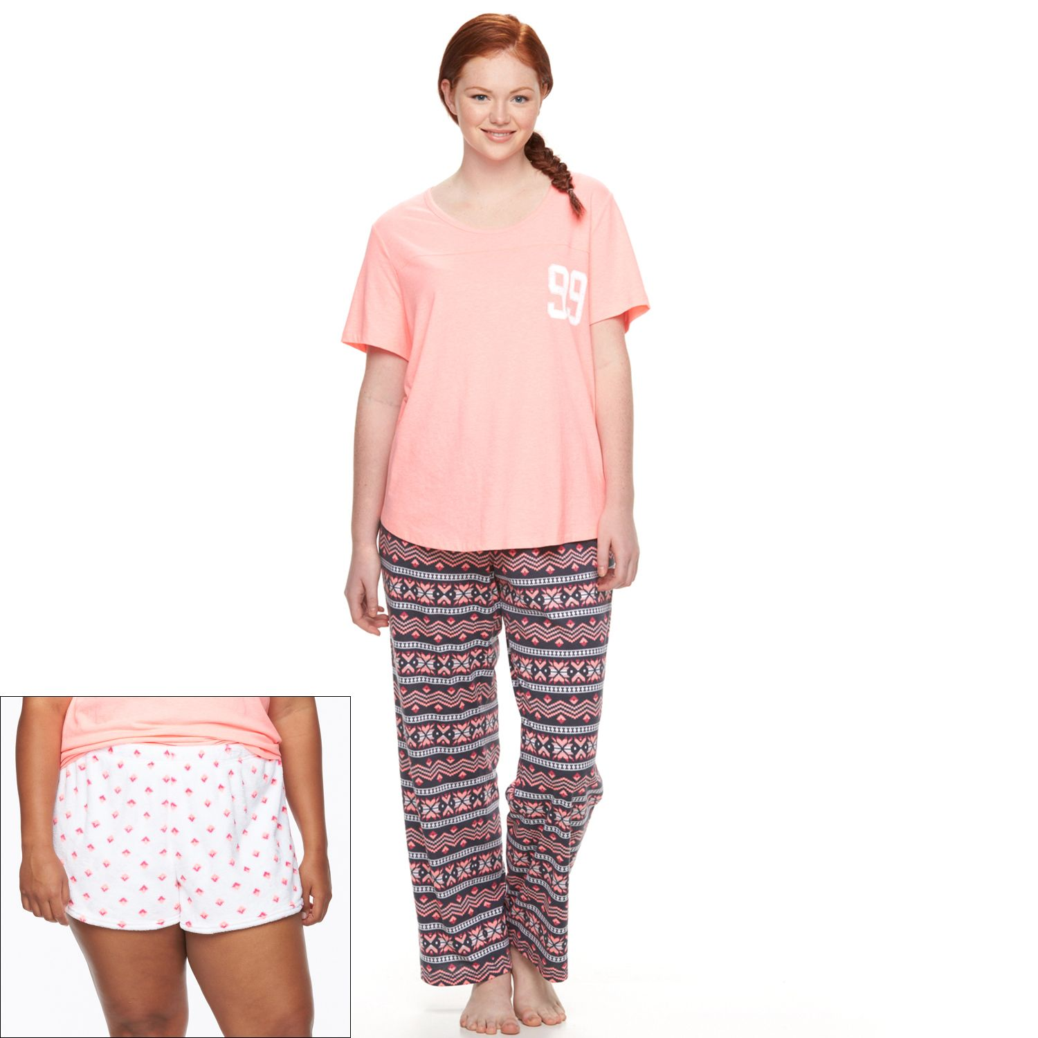 Juniors SO? Pajamas: Knit Plush 3-Piece Pajama Set