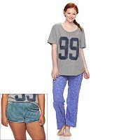 Juniors' Plus Size SO® Pajamas: Knit Plush 3-Piece Pajama Set