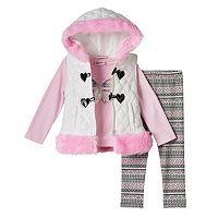Toddler Girl Little Lass Hooded Vest, Foil Butterfly Tee & Patterned Leggings Set