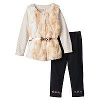 Toddler Girl Little Lass Faux-Fur Vest, Striped Tee & Leggings Set